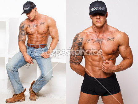 depositphotos_23003702-Hot-guy-with-tattooes-in-pants-is-listening-music