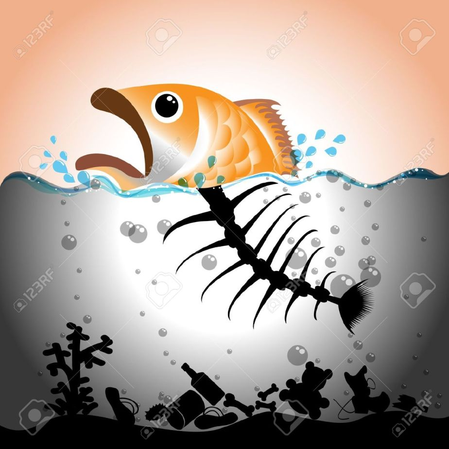22004614-Illustration-of-fish-and-fish-bone-in-in-polluted-water-Water-pollution-concept--Stock-Vector