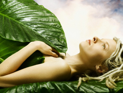 Young Woman Laying Among Leaves --- Image by © Corbis
